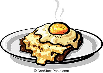 fried egg with rye bread toast