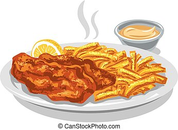 fried fish and chips - illustration of fried fish and chips...