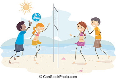 Beach Volleyball - Illustration of Friends Playing Beach...