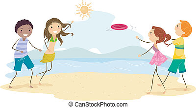 Frisbee - Illustration of Friends Playing Frisbee