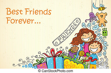 Friendship Day - illustration of Friendship Day doodle in ...