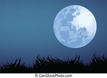 full moon night - illustration of full moon night.