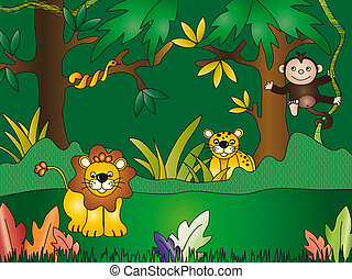jungle - Illustration of fun jungle cartoon