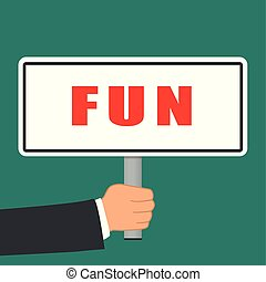 fun word sign flat concept
