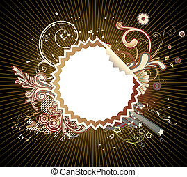 funky styled design frame - illustration of funky styled...