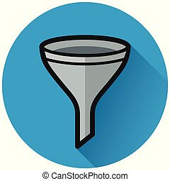 funnel circle flat blue icon