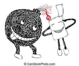 funny bomb and lighter ready to blo - illustration of funny...
