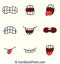 Funny cartoon mouth with different expressions