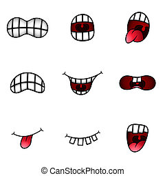 Conceptual design art of cartoon mouth expressions vector ...
