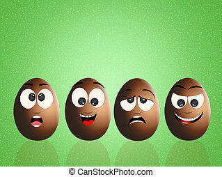 funny chocolate eggs - illustration of funny chocolate eggs