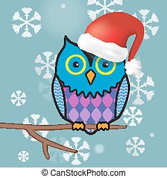 illustration of funny christmas owl sitting on a tree branch