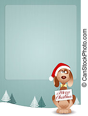 Funny Doggy with Santa's hat - illustration of Funny Doggy ...