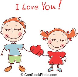 Illustration of funny doodles girl and boy. Vector