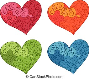 Illustration of funny doodles heart. Vector