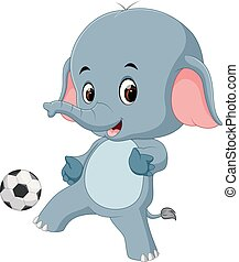 funny elephant cartoon with ball