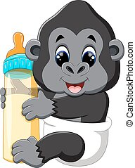 Funny gorilla cartoon