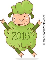 Illustration of funny green sheep, symbol 2015 year. Vector