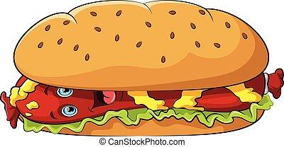 Funny Hot dog cartoon character with mustard