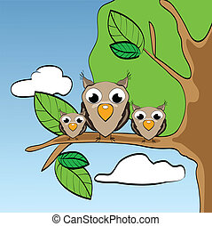 Illustration of funny little owls on branch