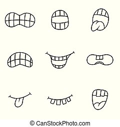Funny mouth with different expressions