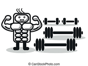 funny muscleman - illustration of funny muscleman