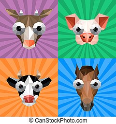 Illustration of funny origami set with farm animals on retro background