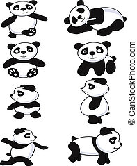 funny panda collection - illustration of funny panda...