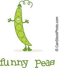 Illustration of funny peas. Vector