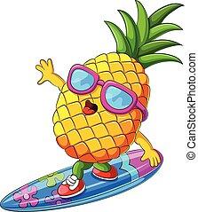 funny pineapple cartoon surfing