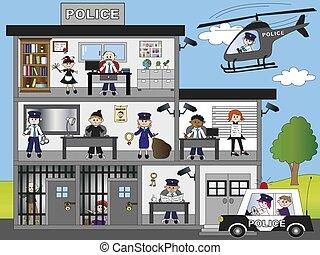 police station - illustration of funny police station