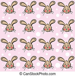 Illustration of funny rabbits pattern on pink background