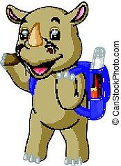 funny rhino cartoon go to school - illustration of funny...