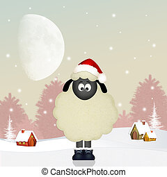 funny sheep at Christmas