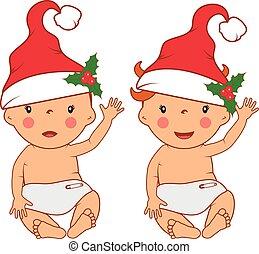 Illustration of funny smiling little babies in santa's hat. Vector