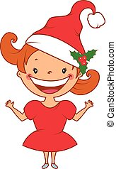 Illustration of funny smiling little girl in santa's hat. Vector