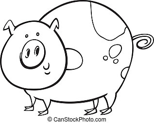 illustration of funny spotted pig for coloring book