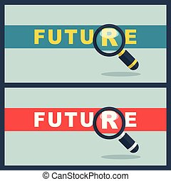 future word with magnifier concept