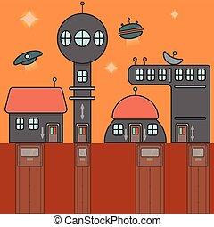 Illustration of futuristic city