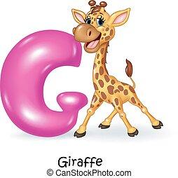 Illustration of G letter for Giraff