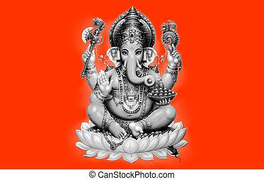 Illustration of Ganesh on orange background - Indian God
