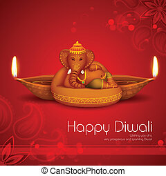 Diwali Holiday background - illustration of Ganesha with...