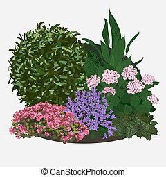 Garden landscapes, summer and spring flower bed. Vector flat illustrations