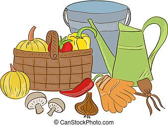 Illustration of garden tools and harvest basket