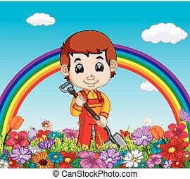 gardener holding shovel in a flower garden with rainbow