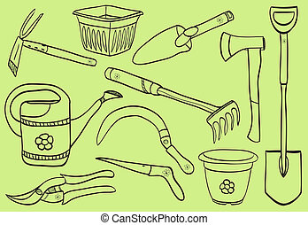 Illustration of gardening tools - doodle style - pot, watering can, dig, rake, scissor, shovel