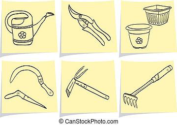 Illustration of gardening tools on yellow memo sticks - doodle style