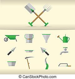 Illustration of gardening tools - Set of gray gardening...