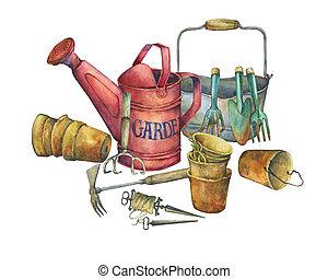 Illustration of gardening tools. Hand drawn watercolor...