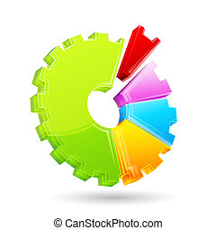 gear shape pie chart - illustration of gear shape pie chart...