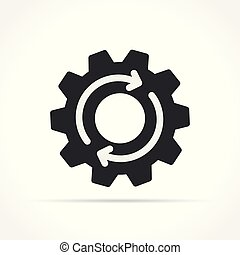 gear with arrows icon on white background